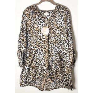 Umgee Animal print Hi Lo oversized jacket w hood M